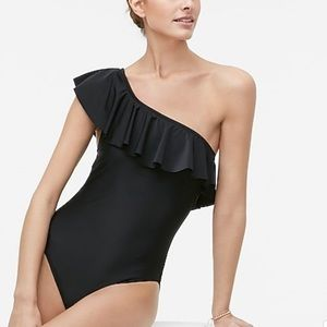 J. Crew One-Shoulder One-Piece Ruffle Swimsuit